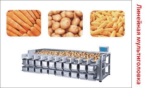 Мультиголовочные дозаторы для фасовки сыпучих продуктов, овощей и фруктов